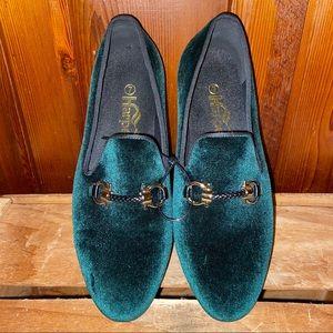 HARPELUNDE Men's Green Velvet Loafers size 7